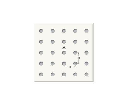 אריח גבס מחורר 6/18R, מונח. T24 610X610
